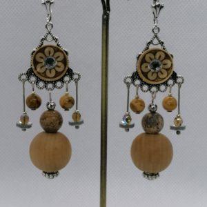 Boucles d'oreilles (Pierres agate et Jaspe)