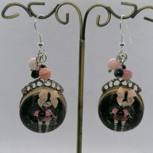 Boucles d'oreilles (Pierres opale rose)